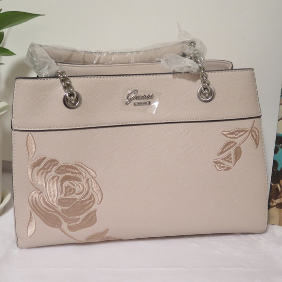 Guess Hadlee Embroidered Flower Nude Bag  NWT